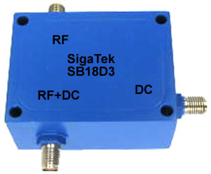 Microwave Bias Tee, high current, SMA, In Stock Outline-D3