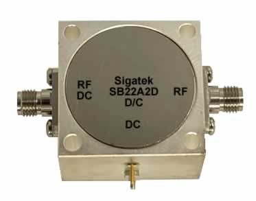 Microwave Bias Tee, high current, SMA, DC-pin In Stock Outline-A2D